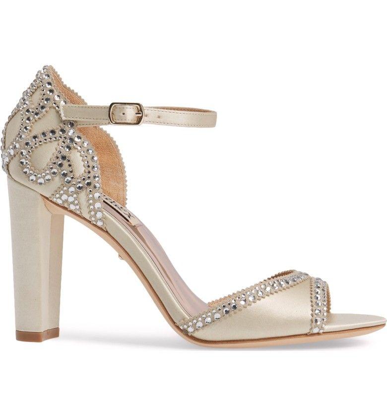 Badgley Mischka Kelly Embellished Crescent Heel Sandal