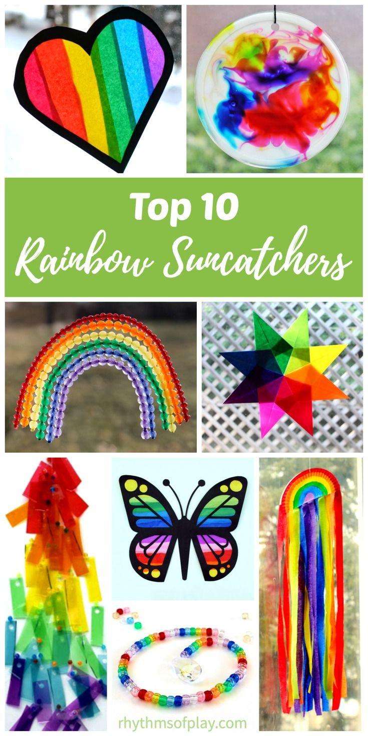 Easy Rainbow Suncatchers For Kids Rainbow Crafts Crafts
