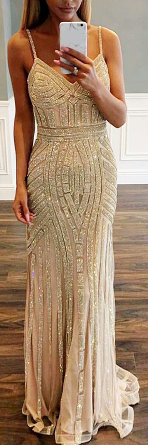 Mermaid spaghetti straps champagne tulle prom dress with beading