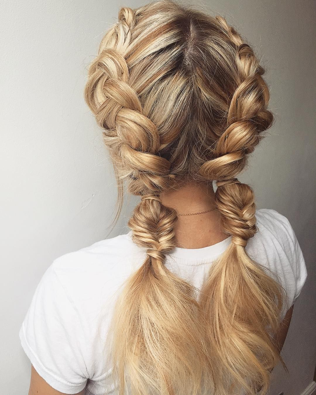 Double Dutch Finished with two Chinese ladders braids hairstyle : hairstyle inspiration - braid hairstyle , braided ponytails, braids #hairstyle #braids #hair #weddinghairstyle #Hairstyle #Braid #BraidIdeas #BraidInspo #BraidedHair #Braidstyles