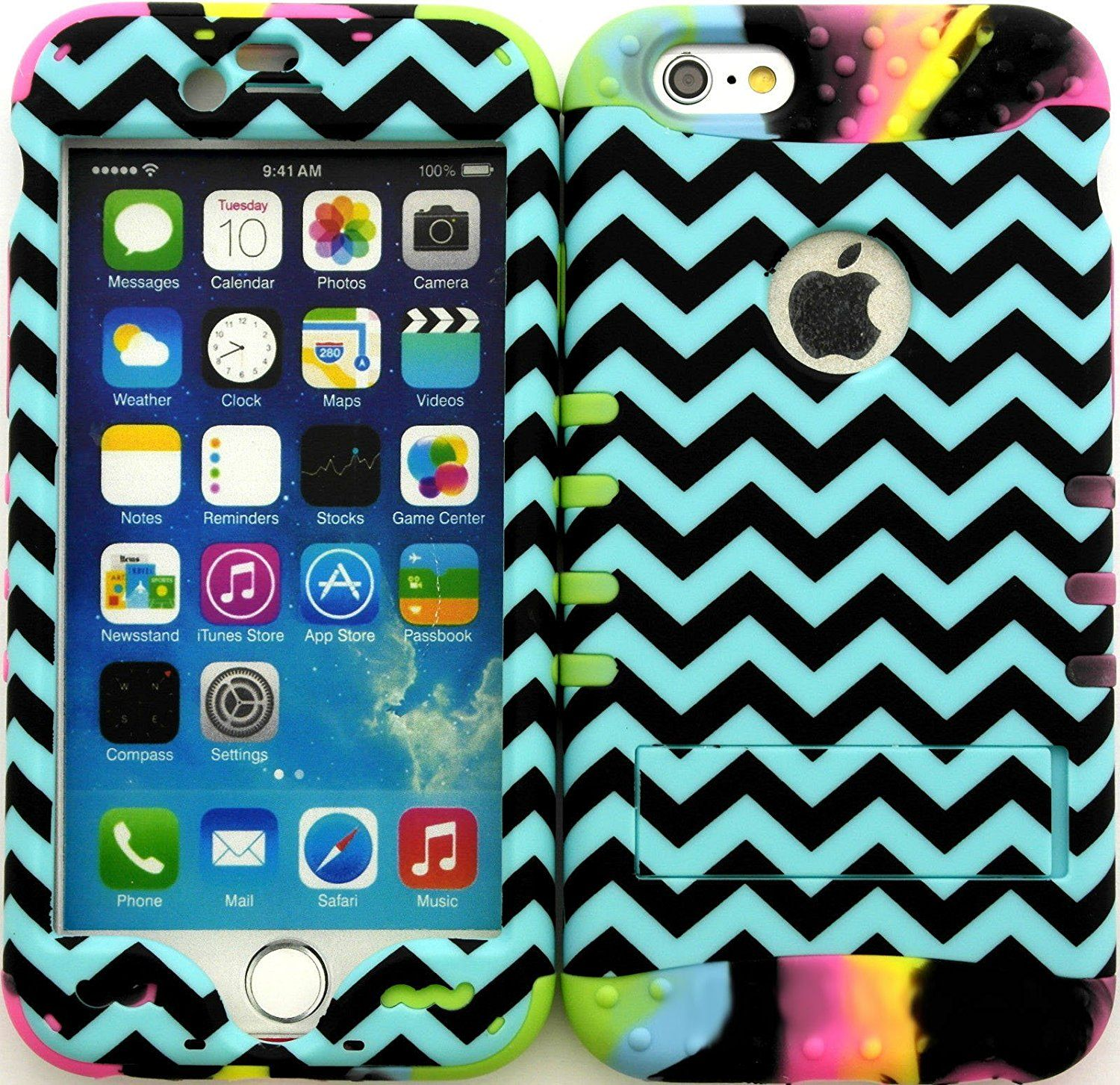 """Amazon.com: Teal, Black and Rainbow """"Zigzag Chevron Stripes with Non-Slip Grip Texture"""" 3 Piece Layered ULTRA Tuff Custom Armored Hybrid Case for the NEW iPhone 6 Plus 5.5"""" Inch Smartphone by Apple {Made of Soft Silicone Gel and Hard Rubberized Plastic with External Built in Kickstand} """"All Ports Accessible"""": Cell Phones & Accessories"""
