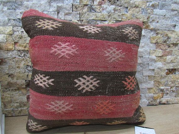 Embroidery design kilim pillow 14x14 striped decorative couch pillow throw pillow 14x14 floor cushion ethnic boho pillow code 251