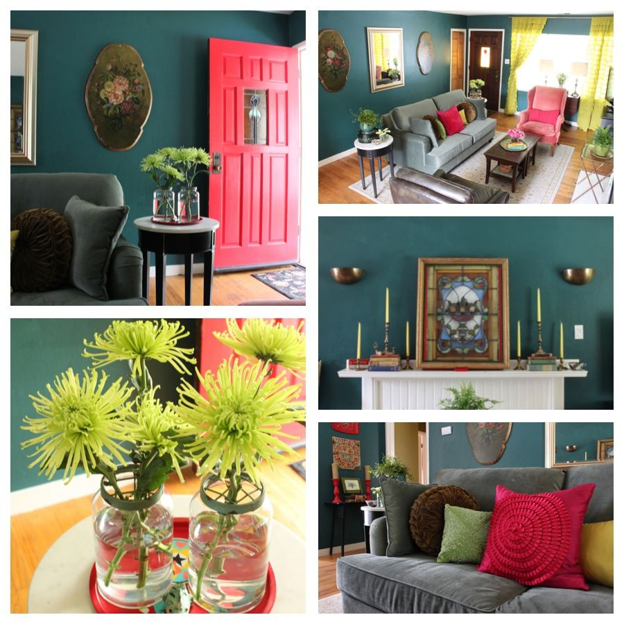 Best Teal Living Room Interior Design And Photo © Kelly Berg 640 x 480