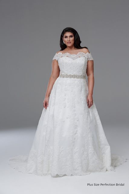 a2b81687abf Lace plus size wedding dress with beaded belt by plus size perfection bridal
