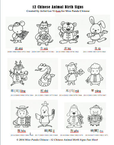 Chinese Culture For Kids Series The 12 Chinese Animal Birth Signs Printable Miss Panda Chinese Mandarin Chinese For Children Learn Chinese Birth Sign Learn Mandarin