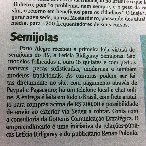 Nossan loja virtual de semi jóias Leticia Bidigaray saindo no jornal do Comércio
