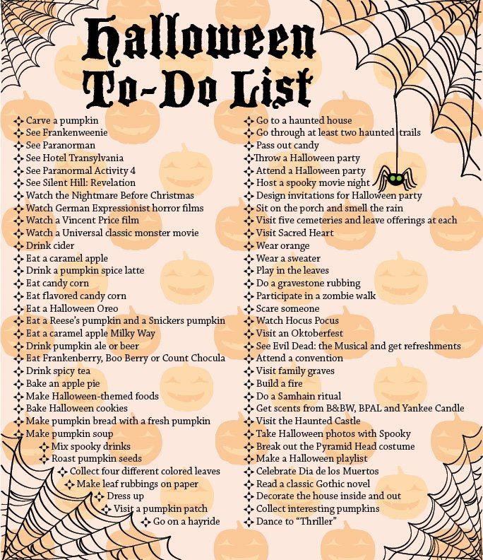 A Halloween bucket list- I love love love it!!! Halloween rocks my - another word for to do list