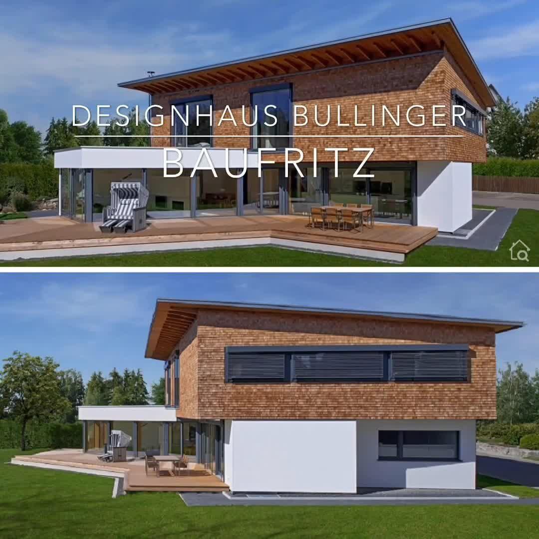 Modernes Fertighaus Mit Holz Fassade Pultdach Bauen Einfamilienhaus Grundriss Modern Mit Ga In 2020 House Architecture Design Architecture House Architecture Design