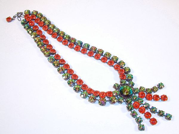 """Cissy Zoltowska Necklace with Margarita Swarovski Stones  France, 1970  Oxidized metal, red glass cabochon-cut stones, blue green """"Margarita"""" Swarovski stones, length 16 inches, unsigne"""