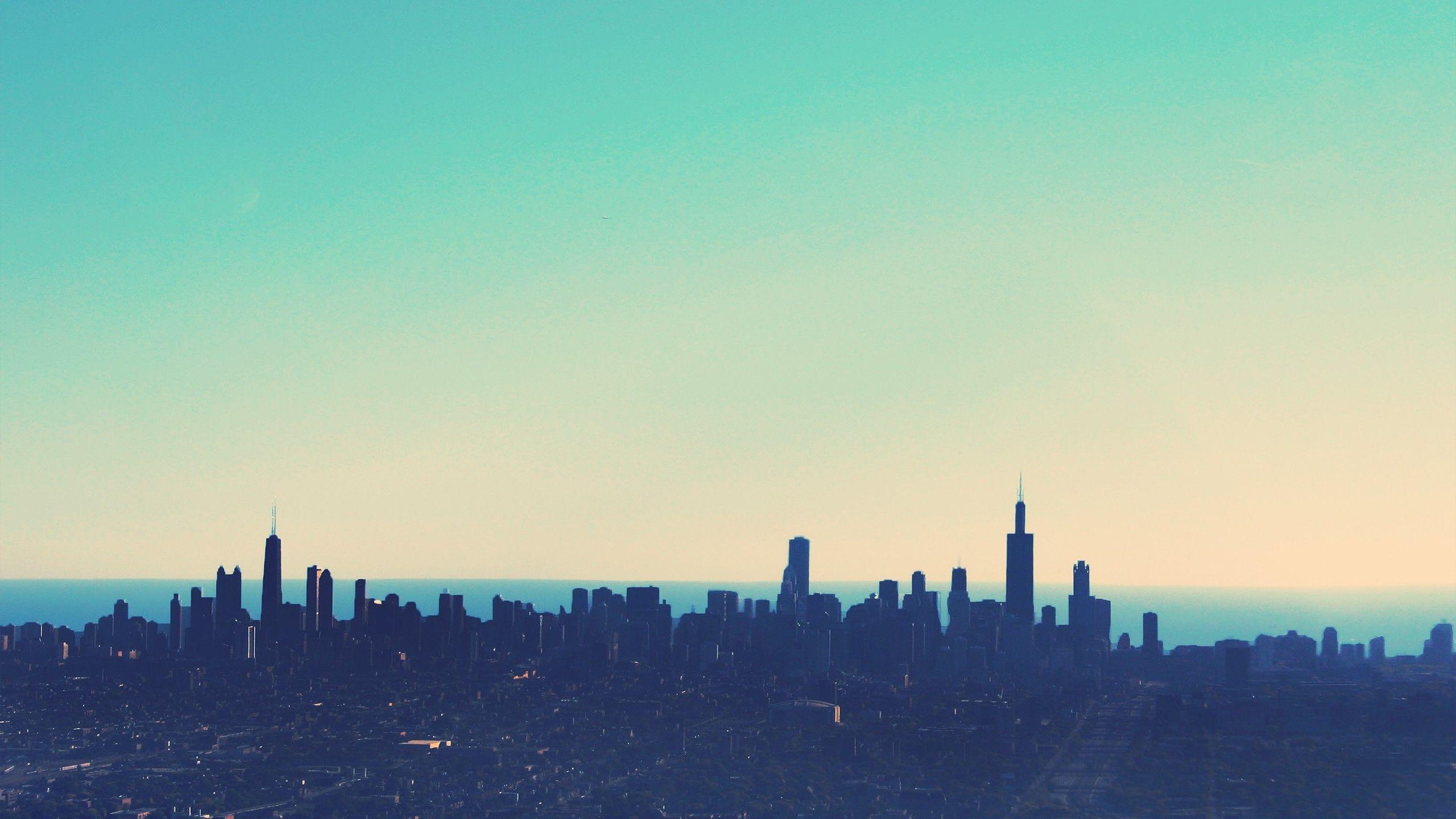 skyline, Chicago, cityscape, simple, horizon, sky,