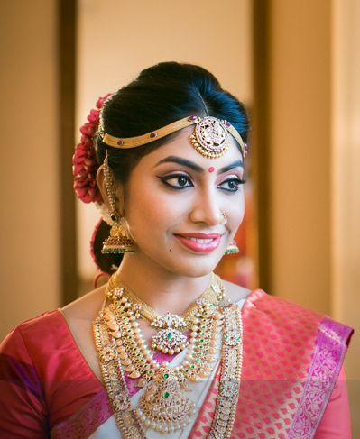 Real Bride Sowjanya in a Romantic Pink, Purple and White Saree