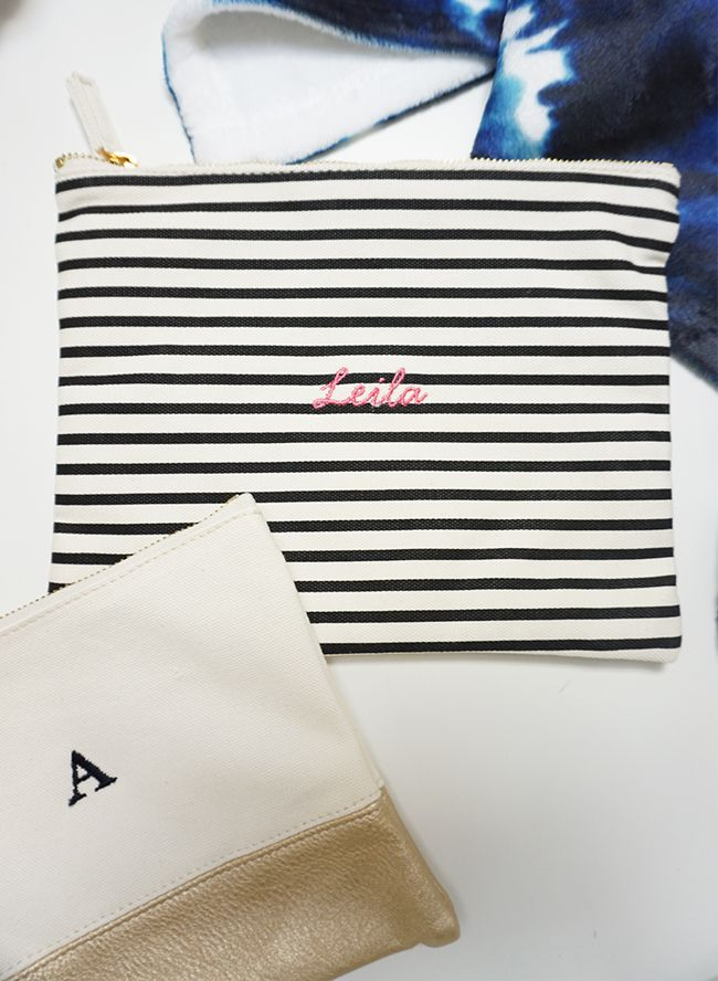 Customize these leather pouches with the recipient's name in embroidery to give it that extra special touch.