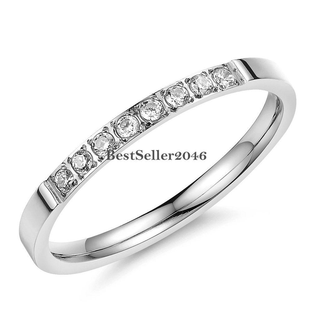 Verlobungsring Trauring | Damen Edelstahl Ring Verlobungsring Trauring Mit Multi Zirkonia