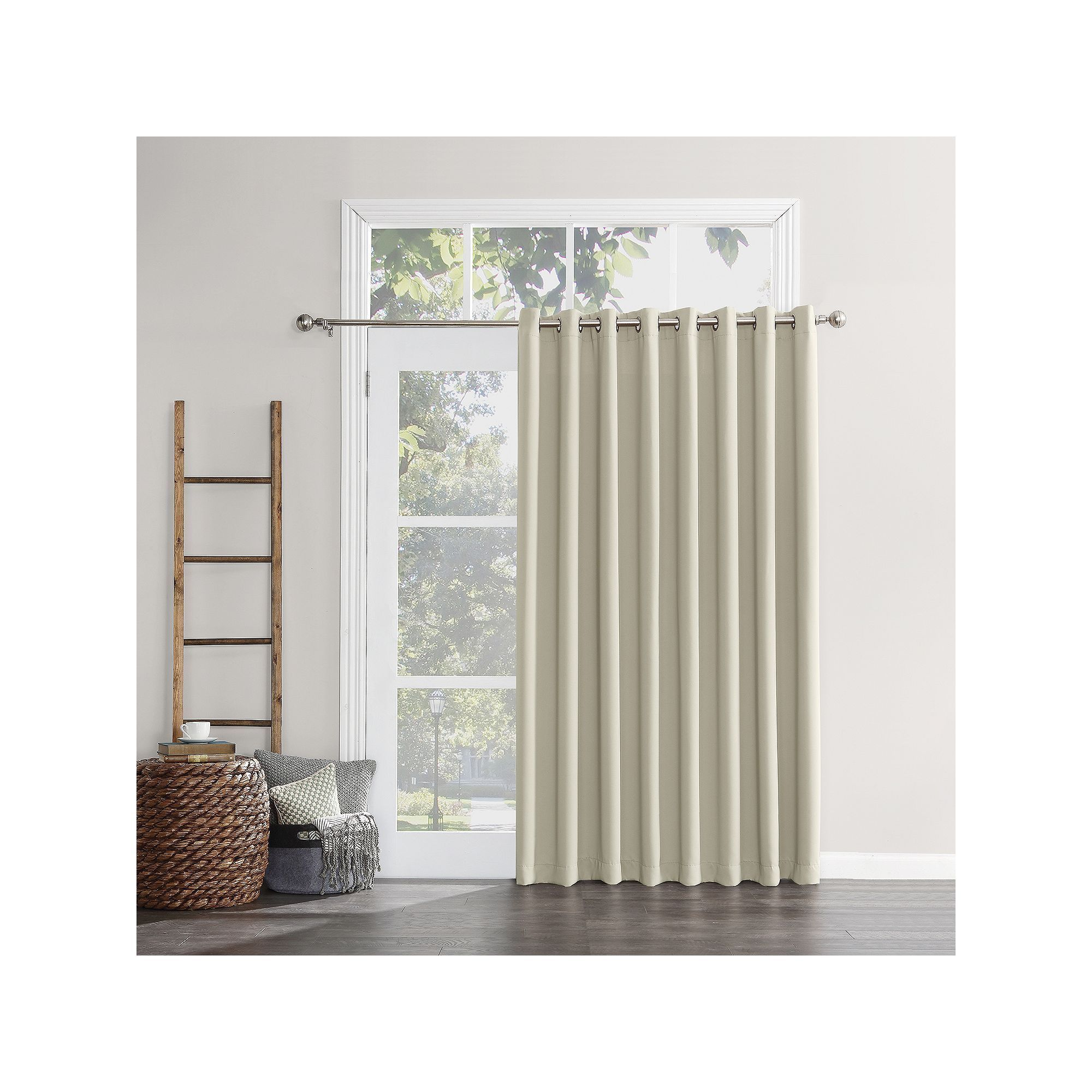 Sun Zero Blackout 1 Panel Ludlow Patio Door Window Curtain 100 X 84 Beig Green 100x84 Sliding Patio Doors Patio Door Curtains Patio Doors