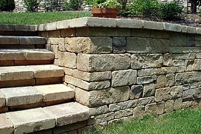 Allan Block Europa Wall Block And Cap System Was Used To Create The Step Treads And Risers And The Wall For Tiered Landscape Home Garden Design Outdoor Walkway