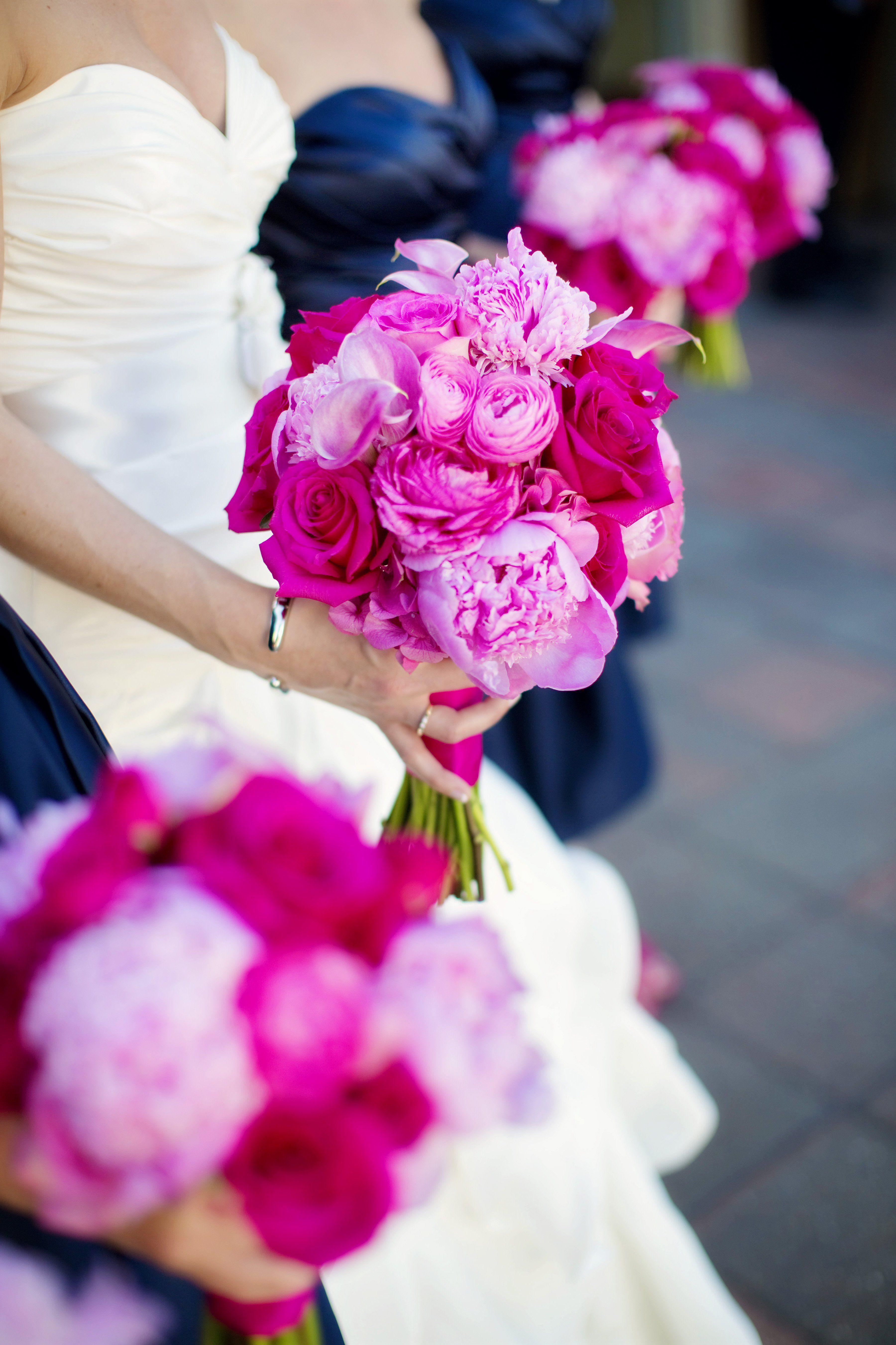 Bright Pink Bridal Bouquet | SnowWhite Wedding hair | Pinterest ...