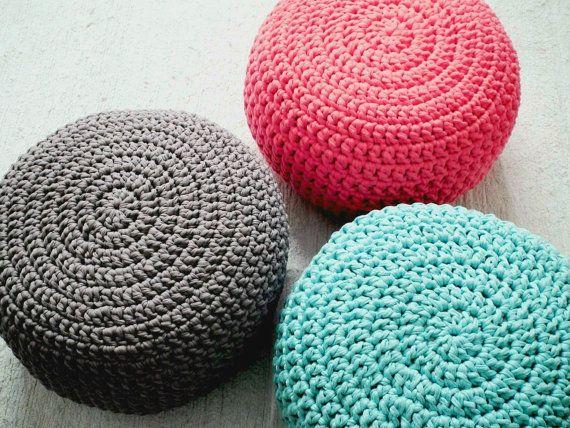 Turquoise Crochet Pouf Ottoman-Round Floor Cushion-Glider Footstool ...