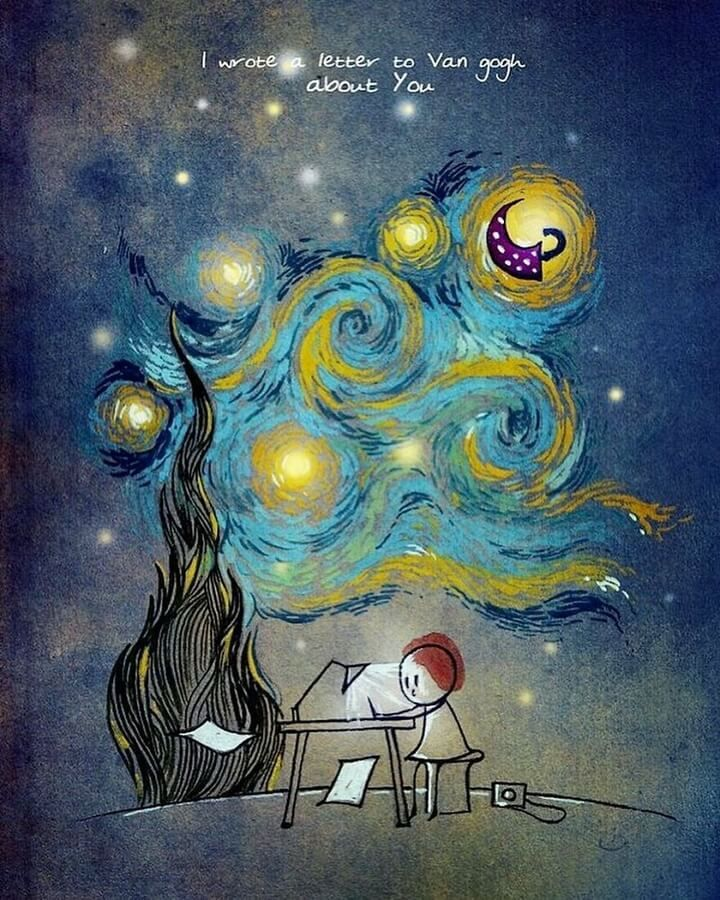 Cool drawing inspired by Vincent van Gogh's The Starry Night.