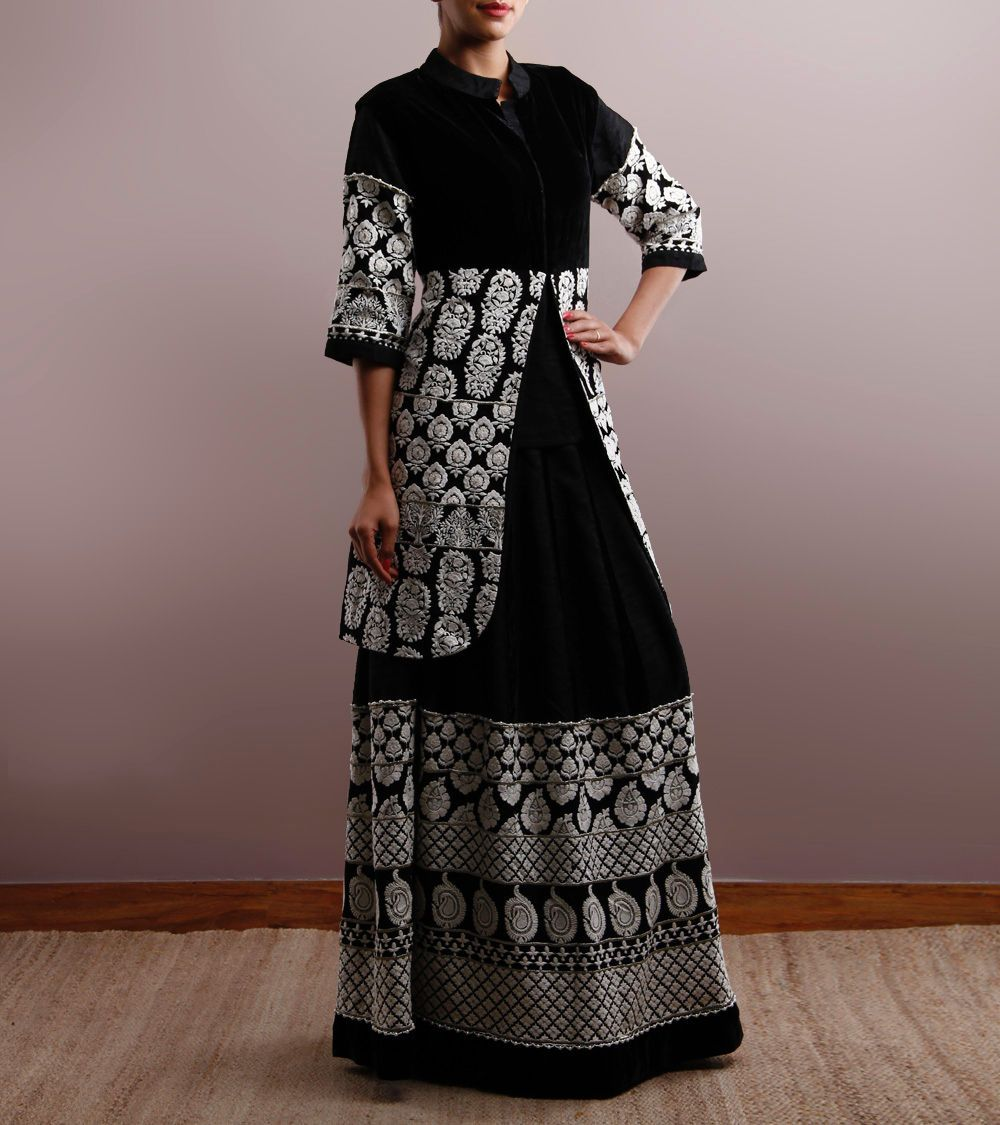 Black embroidered silk and velvet gown with long jacket by