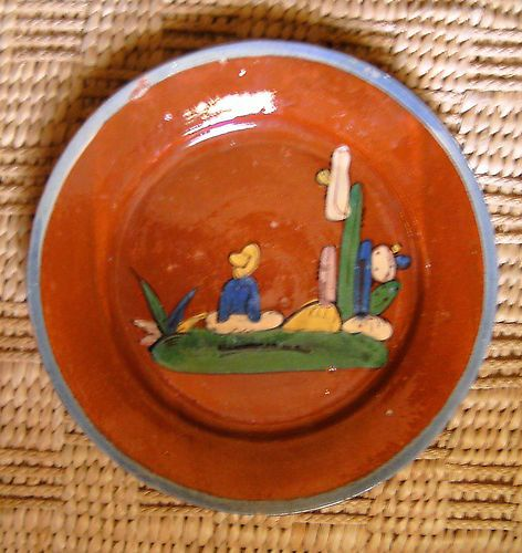 Vintage Mexican Tlaquepaque glazed pottery plate crafts decorative folk art & Vintage Mexican Tlaquepaque glazed pottery plate crafts decorative ...