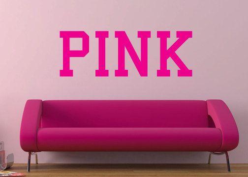 Pink Victoriau0027s Secret Pink Vinyl Wall Decal By GrabersGraphics