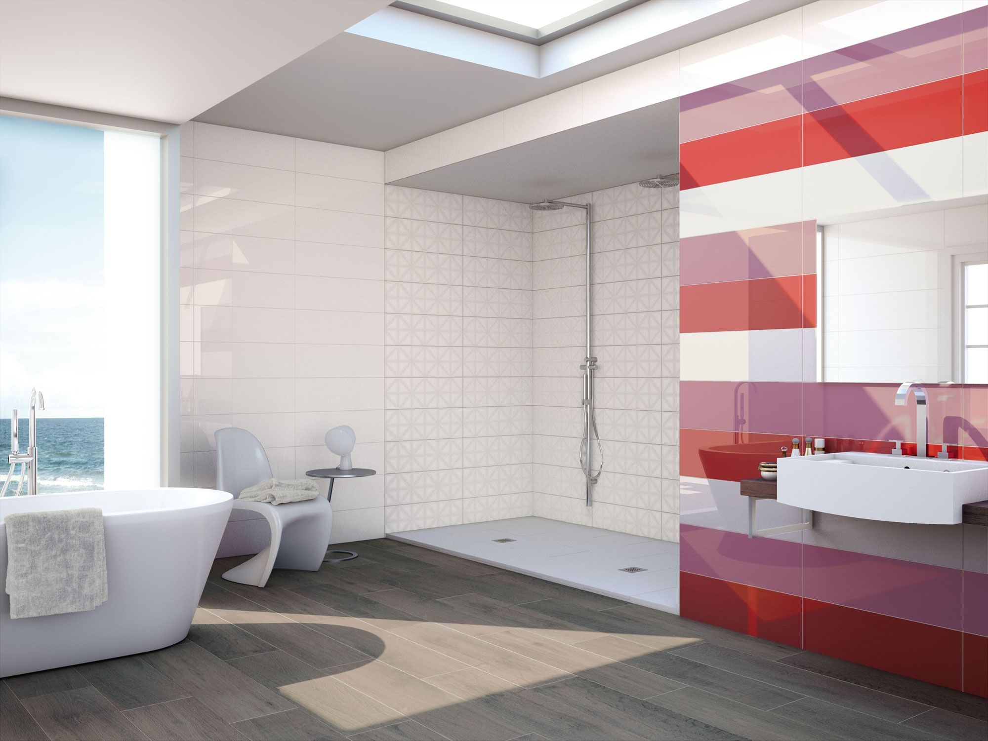 Colourful #bathroom In Red, Pink And White With #ceramic Wood #floors. 3003u2026