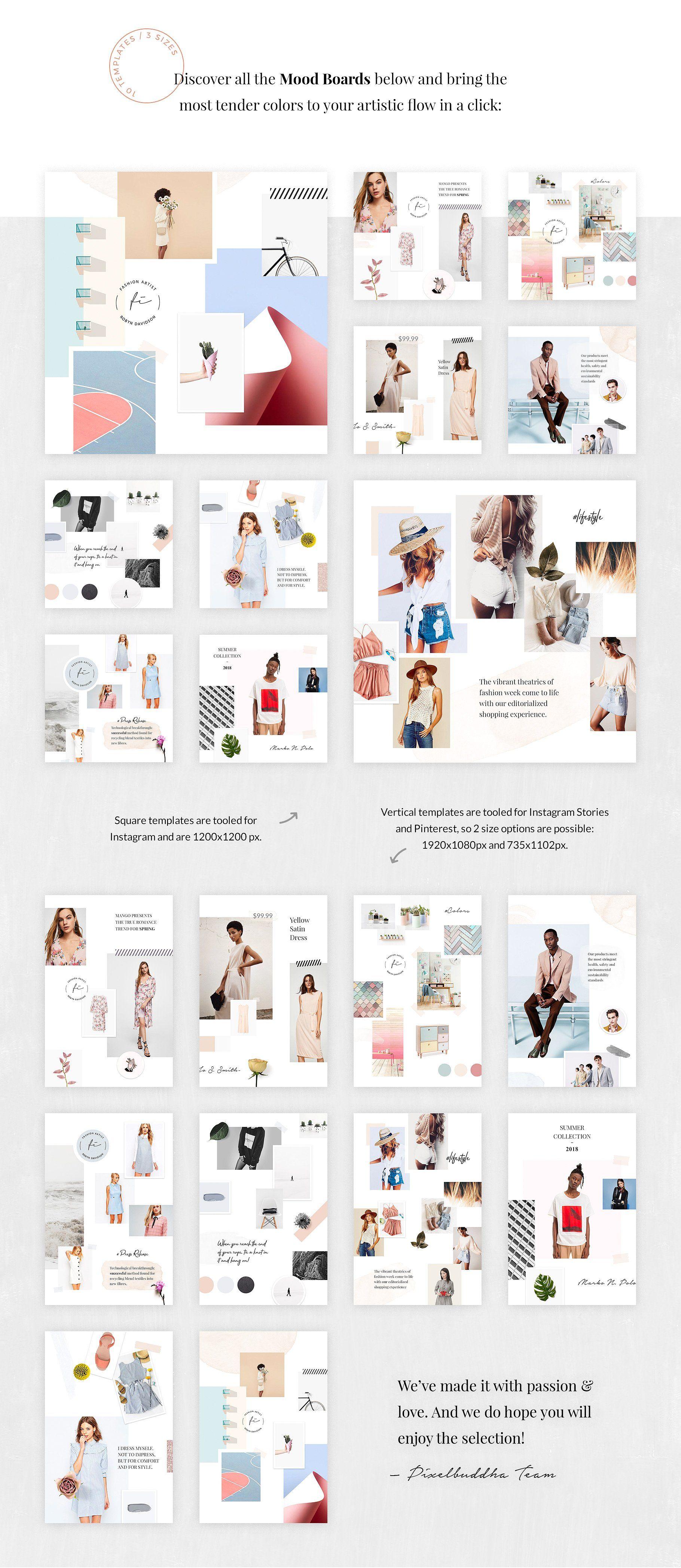 Feminine Mood Board Templates Mood Board Template Mood Board Fashion Magazine Layout