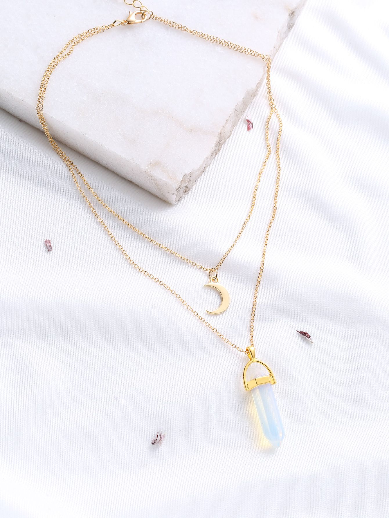 dfca673918 Gold Crystal And Crescent Pendant Layered Necklace -SheIn(Sheinside ...