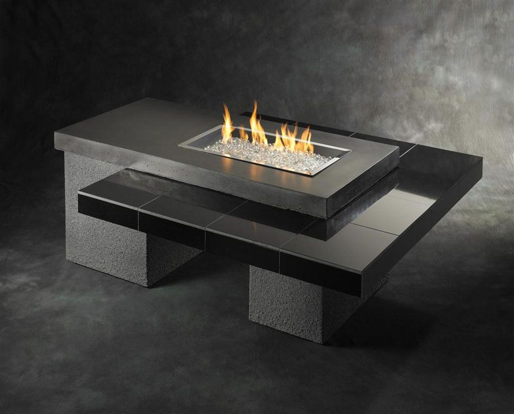 Futuristic Gas Fire Pit Set On Graded Table Of Black Grey Tile Countertop: Contemporary Gas Fire Pit Arrangement Ideas In Creating Practically Fireplace In Your Home