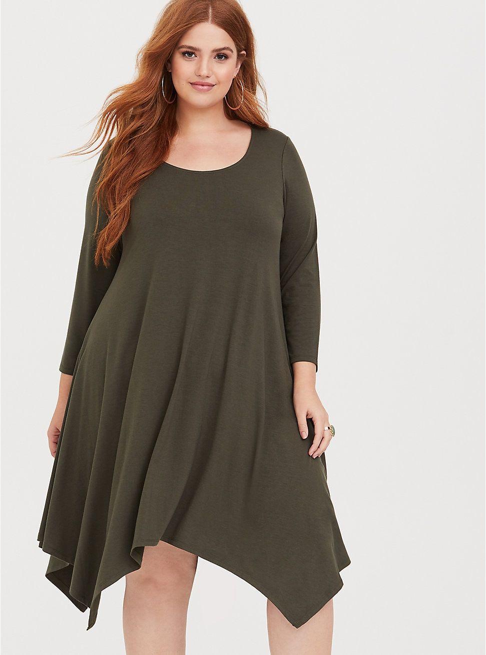 412a075d0db Olive Jersey Handkerchief Dress in 2019
