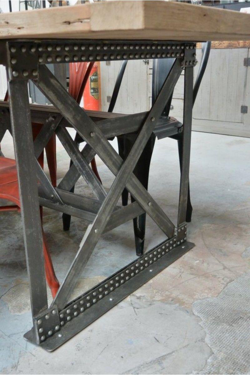 Table Pied Eiffel Rivetée Ideas Ameublement Industriel