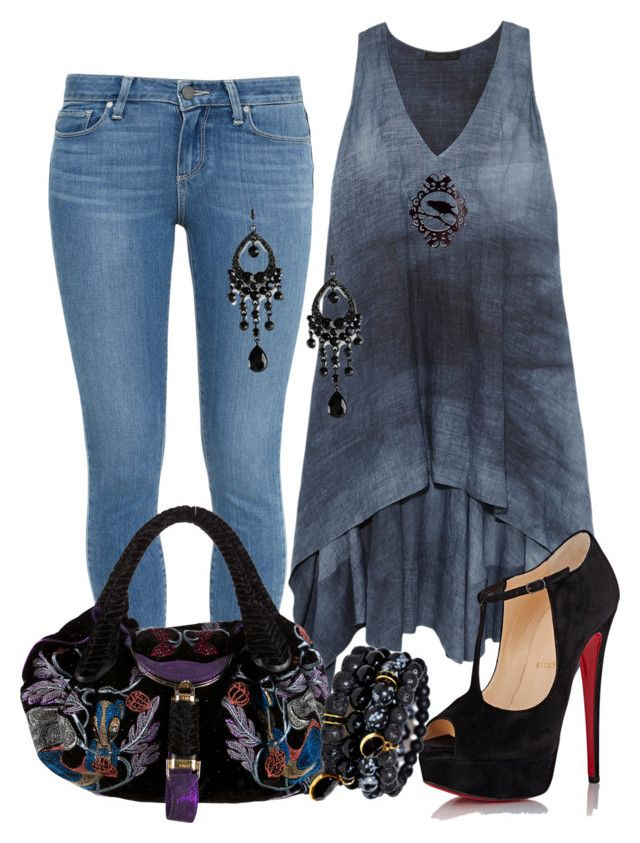 """""""casual"""" by alice-fortuna on Polyvore featuring Paige Denim, Donna Karan, Christian Louboutin and Fendi"""