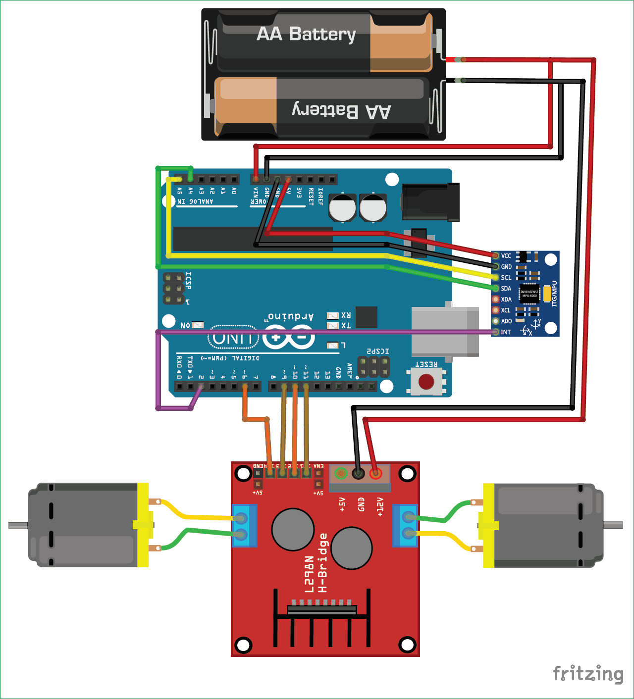 Circuit Diagram for Self Balancing Robot using Arduino | Electronic
