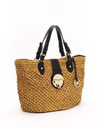 6a8ac0b9dfc6 ShopStyle: MICHAEL Michael Kors Margo Straw Basket Bag, Black ...