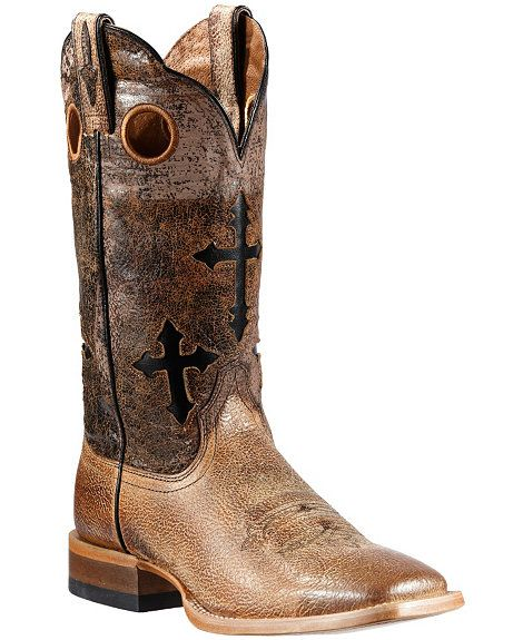 88e0c4defb2 Ariat Ranchero Cross Inlay Cowboy Boots - Square Toe | Cowboy Boots ...