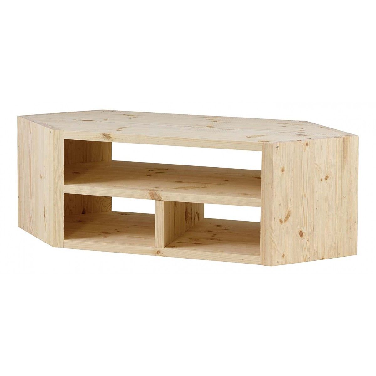 Meuble Tv D Angle Design Pin Massif Brut 3 Niches Matendance  # Table Televiseur Ecran Plat En Bois
