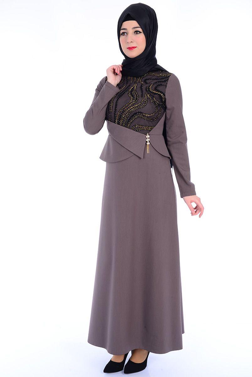56e3154877213 Broşlu Vizon Abiye Elbise - 2353-04 Tesettür Elbise - Tesettür Elbise  Modelleri ve Fiyatları
