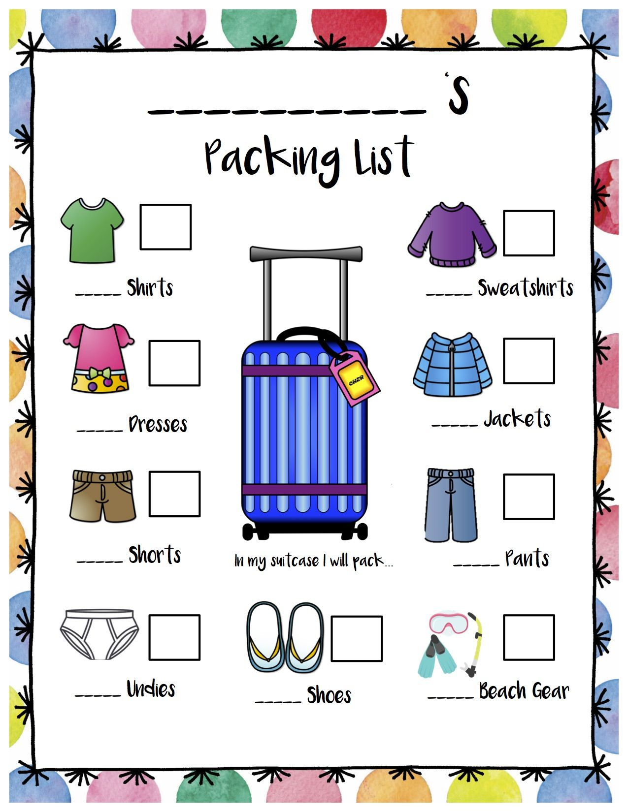 My First Packing List Just For Kids Printable