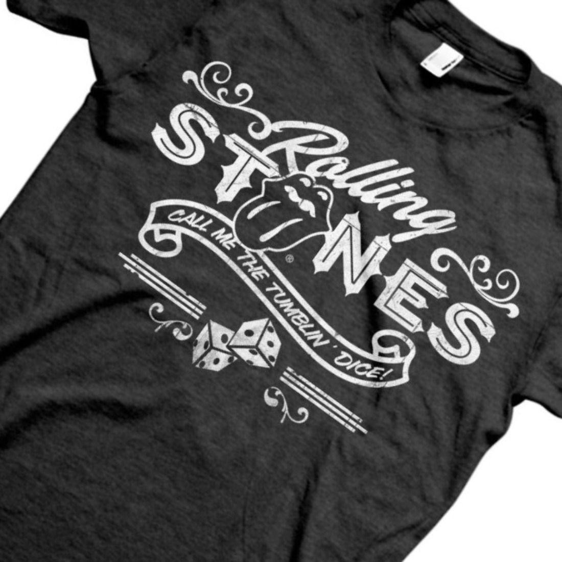 The Rolling Stones Men/'s Tumbling Dice Black /& White T shirt