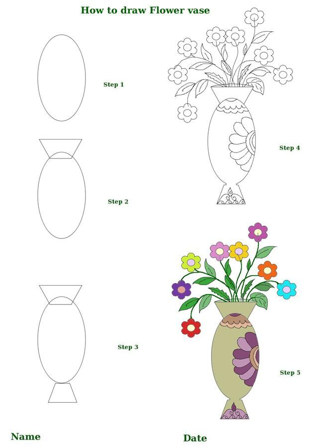 Click On A Picture To Make It Larger Then Print It Out And Enjoy Your How To Draw A Lotus Flower Step Flower Drawing Flower Vase Drawing Simple Flower Drawing