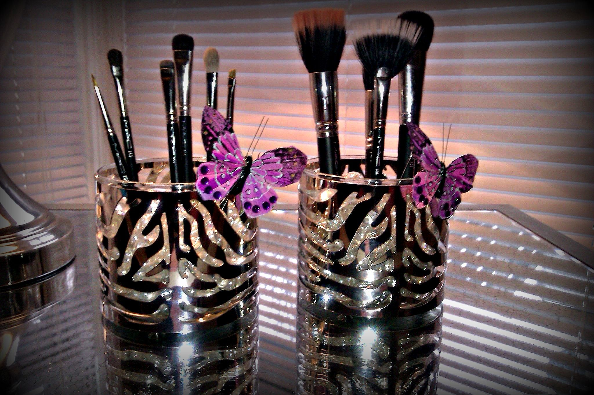 use empty candle jars and metal sleeves from bath body works as storage i use mine on the. Black Bedroom Furniture Sets. Home Design Ideas