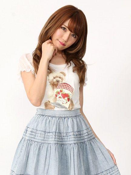 くまプリントTシャツ