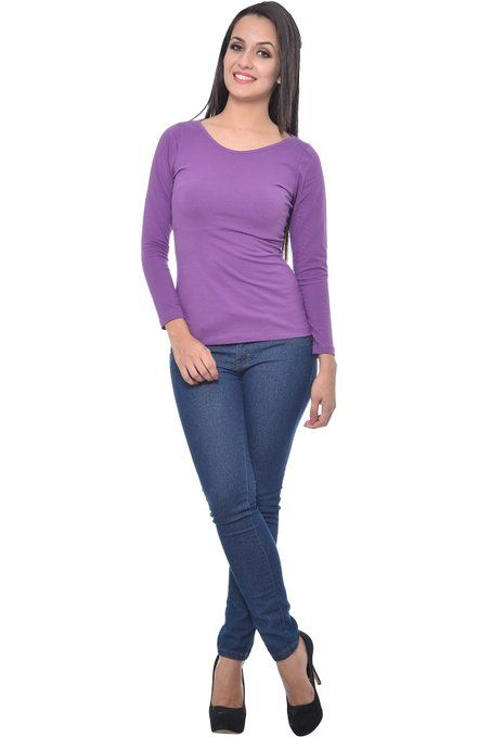 b3f4e564d04b1a Frenchtrendz Cotton spandex Purple Bateu Neck Top  Amazon.in  Clothing    Accessories