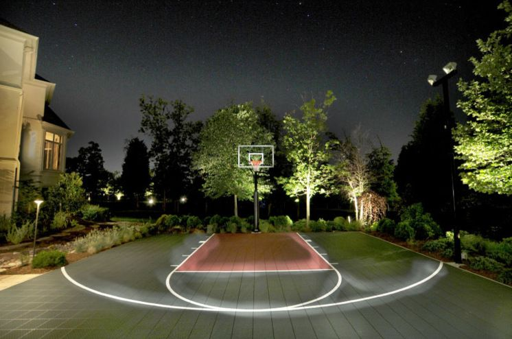 Contemporary Outdoor Basketball Court With Lighting