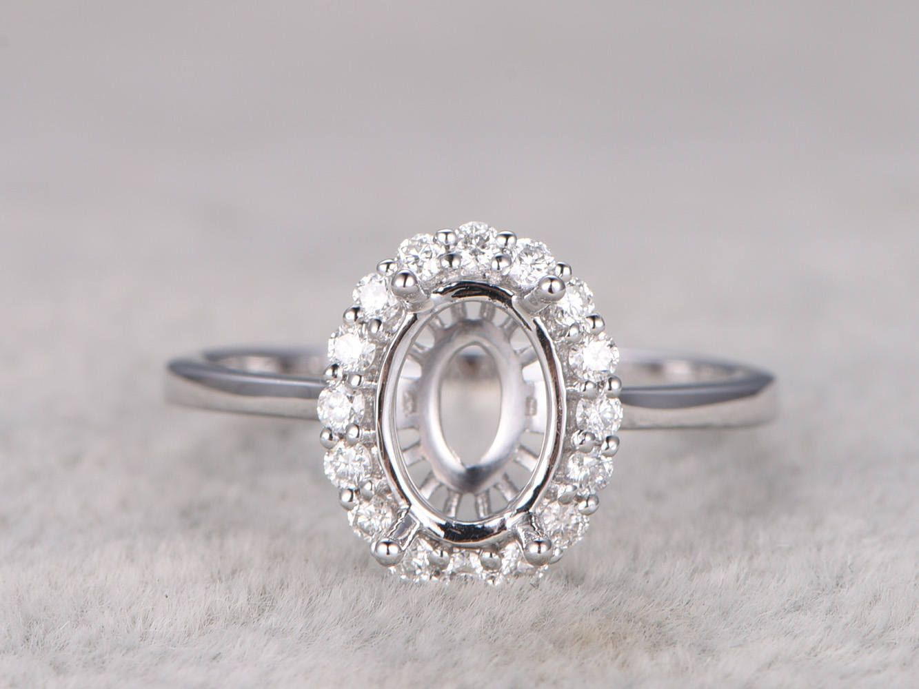 8x6mm Oval Stone Semi Mount RingWhite Gold Ring Setting14kDiamond Halo