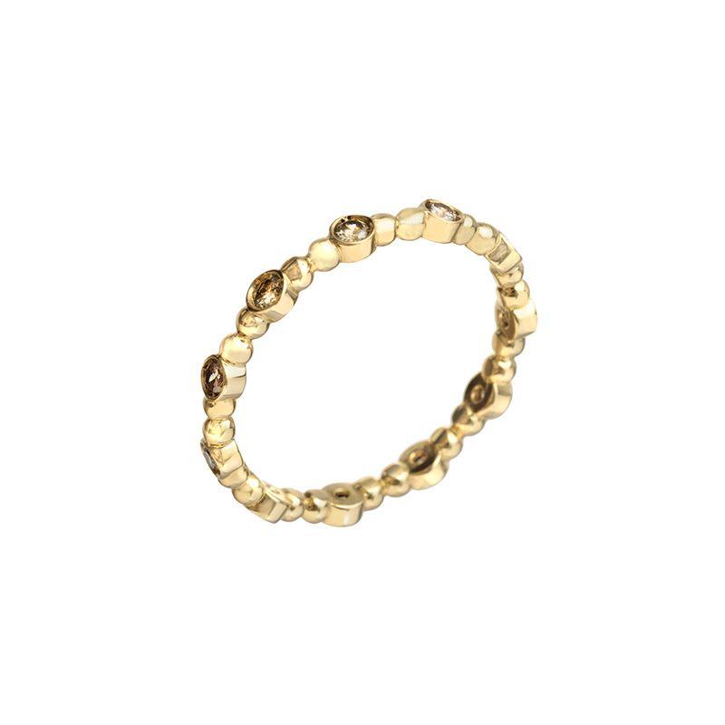 32b052826aa Anel Dainty Brilhante Michelle Tamoni em ouro 18 k com brilhantes brown.