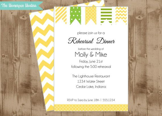 DIY Printable Yellow Green Pennant Invitation- Couples Shower, Rehearsal Dinner, Birthday Party, spring summer on Etsy, $15.00