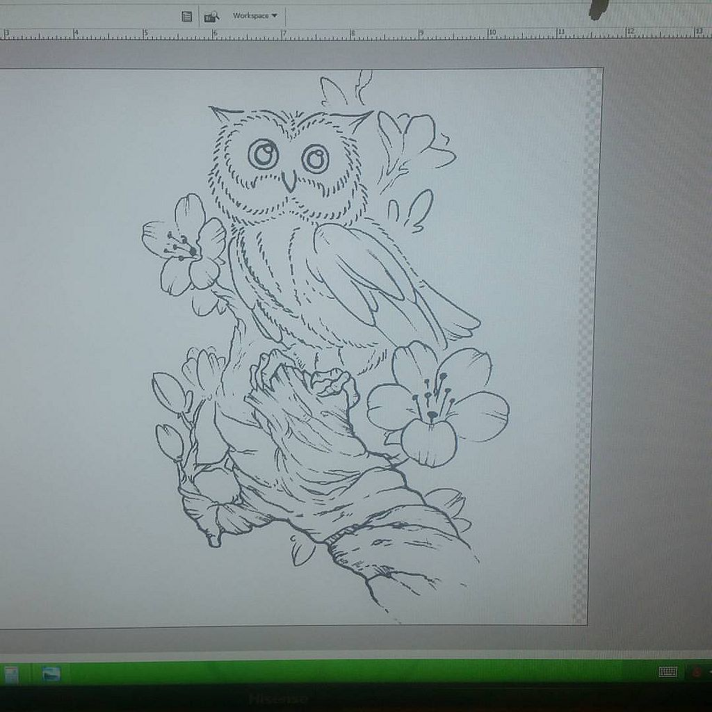 Owl design up for grabs. Hit me up if ur interested.   #owl #cherryblossom #tree #cute #drawing #design #art #sketch #tattoo #813 #riverview #florida #sicink