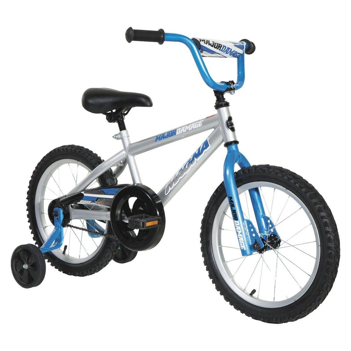 Boy S Major Damage Bike Grey Blue 16 Bike With Training