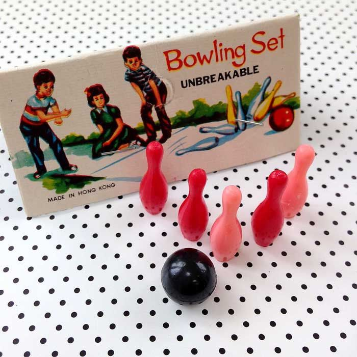 Teeny Bowling Pins and Ball Set Vintage Miniature Bowling Toppers